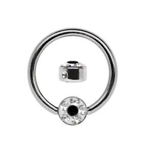 Piercing Schmuck BCR Ring 1,6mm mit 4mm Epoxy Strass Platte Stahl, Größe 7-12mm