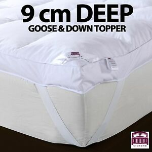 Image Is Loading 9cm 100 Goose Feather Amp Down Mattress Topper