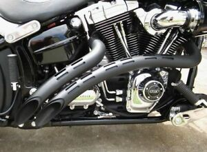 details zu bassani black radial sweepers exhaust pipes holes heatshields harley softail fxd