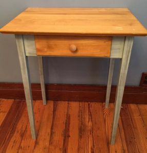 Rustic Style Side Table Blue Distressed Farmhouse With