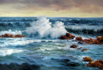 paysage mer plage tableau peinture huile sur toile signee seascape ebay