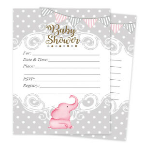 Details About Baby Shower Invitations Elephant Cards Invites Decorations Pink Qty 20