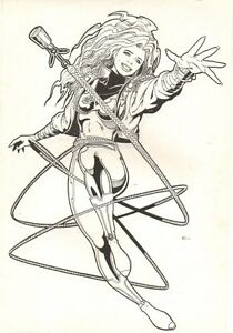 Hero Babe Character Design Art - 1994 original comic book art by Sean Chen