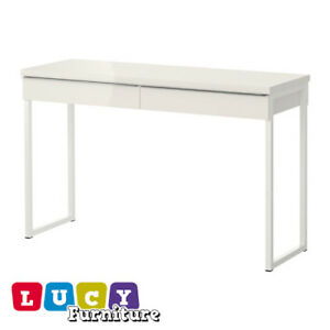 details about ikea besta burs office desk with 2 drawers in white