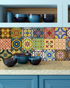 details about kitchen spanish tiles sticker bathroom decor tile stickers decals set of 24 c500