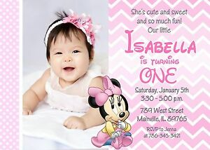 details about minnie mouse first birthday baby girl birthday invitation