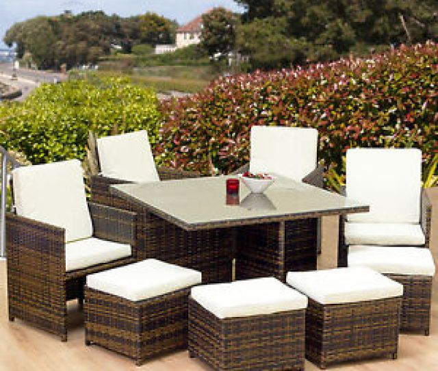 Cube Rattan Garden Furniture Set Chair Table Patio