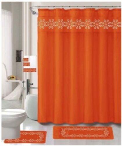 12 rings julie orange 18 pieces shower curtain 3 piece towel set 2 rugs shower curtains home garden