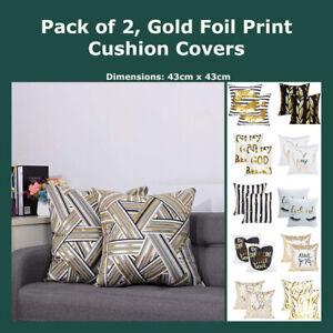 details about pack of 2 gold foil print cushion cover geometric black white velvet pillow case