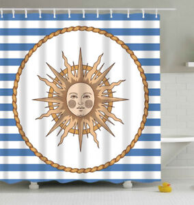 details about nautical sun fabric shower curtain 70 w hooks blue white stripes celestial