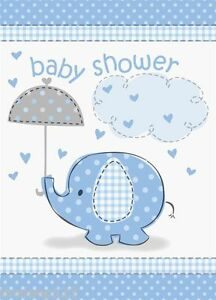 Details About 8 Baby Shower Invitation Cards Blue Umbrellaphants Party Supplies Boy Envelopes