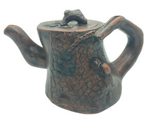 Vintage Chinese Yixing Zisha Ceramic Clay Tree Stump Teapot With Squirrel?