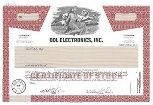 Ddl Electronics Inc Abn Specimen Common Stock