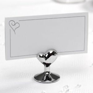 50x Tischkartenhalter Deko Klammern Herz Rot Tischkarten
