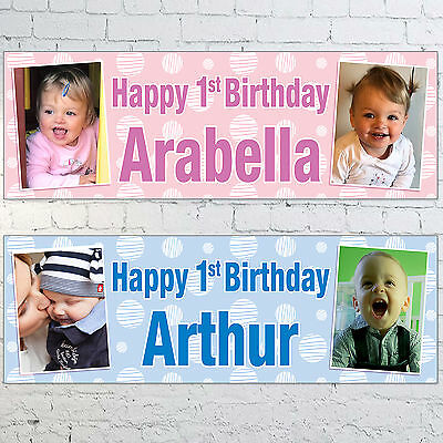 Personalised 1st Birthday Photo Banner 3ft X 1ft Blue Pink Boys Girls Ebay