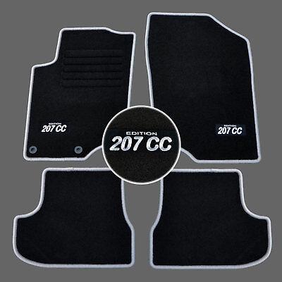 4 tapis sol peugeot 207cc a partir de 02 2007 sur mesure moquette logo gris ebay