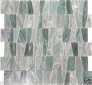 details about nickel teal textured stained glass kitchen bath wall mosaic tile 14 pack