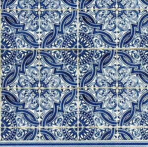 details about 4x designer paper napkins for decoupage craft lorenzo blue mosaic tiles