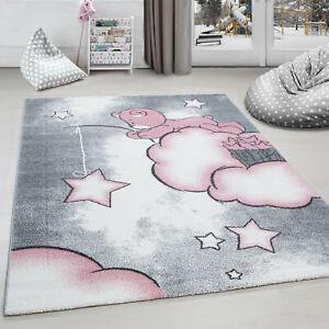 details sur tapis chambre d enfant ours la peche aux etoiles nuages gris blanc rose