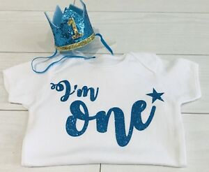 Baby Boys Cake Smash Outfit One First 1st Birthday Blue Crown Hat Top Vest Uk Ebay