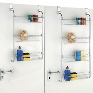 details about 3 4 tier over door hanging storage rack food spice rack kitchen bathroom rack