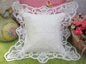 victorian white battenburg lace pillow