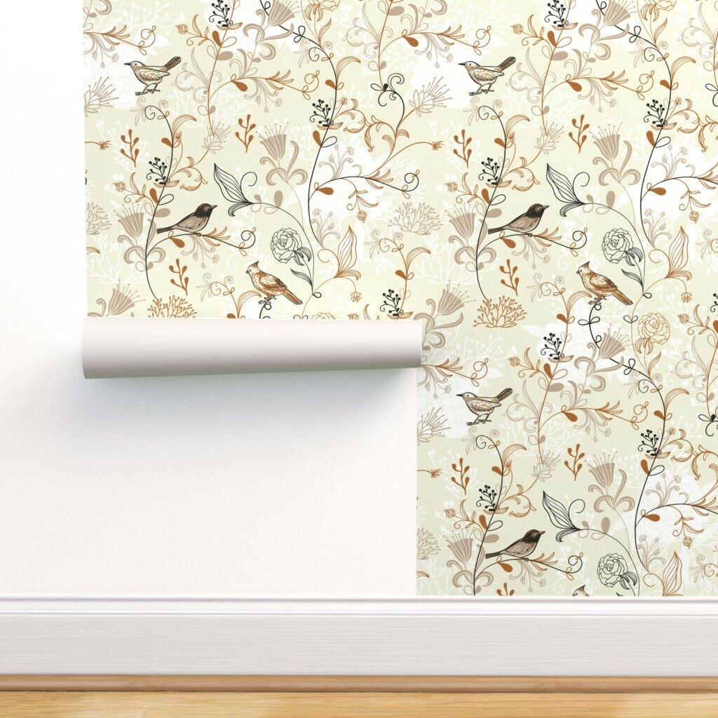 Peel And Stick Removable Wallpaper Floral Vintage Historic Inspired Nature Birds For Sale Online