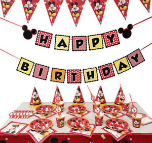 Mickey Mouse Minnie Birthday Party Supplies Tableware Table Cover Diy Decoration Ebay