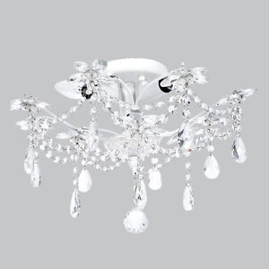 Image Is Loading Flush Mount Chandelier Jewels White Bedroom Bathroom Light