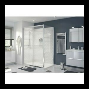 details sur porte de douche coulissante cooke and lewis transparente 140 cm