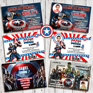 details about personalised captain america avengers photo birthday invite invitations card