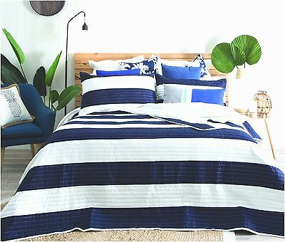 quilted modern stripe navy blue white bedspread quilt set includes pillow shams ebay