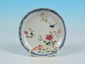 ANTIQUE CHINESE PORCELAIN FAMILLE ROSE BIRD FLOWER SAUCER DISH 18th 19th C. QING