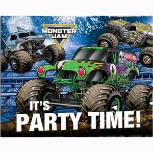 details about monster jam grave digger invitations and envelopes 8 ct birthday party supplies
