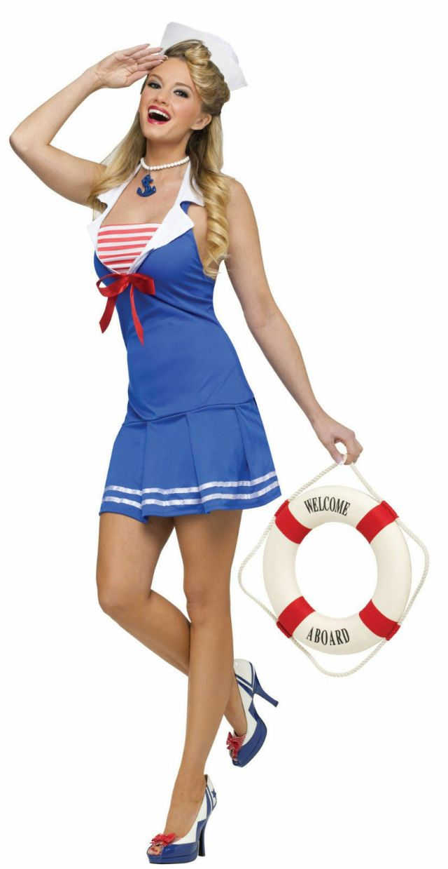 Details About Sailor Blue Dress Sexy Navy Girl Uniform Costume For Halloween Party Size M L