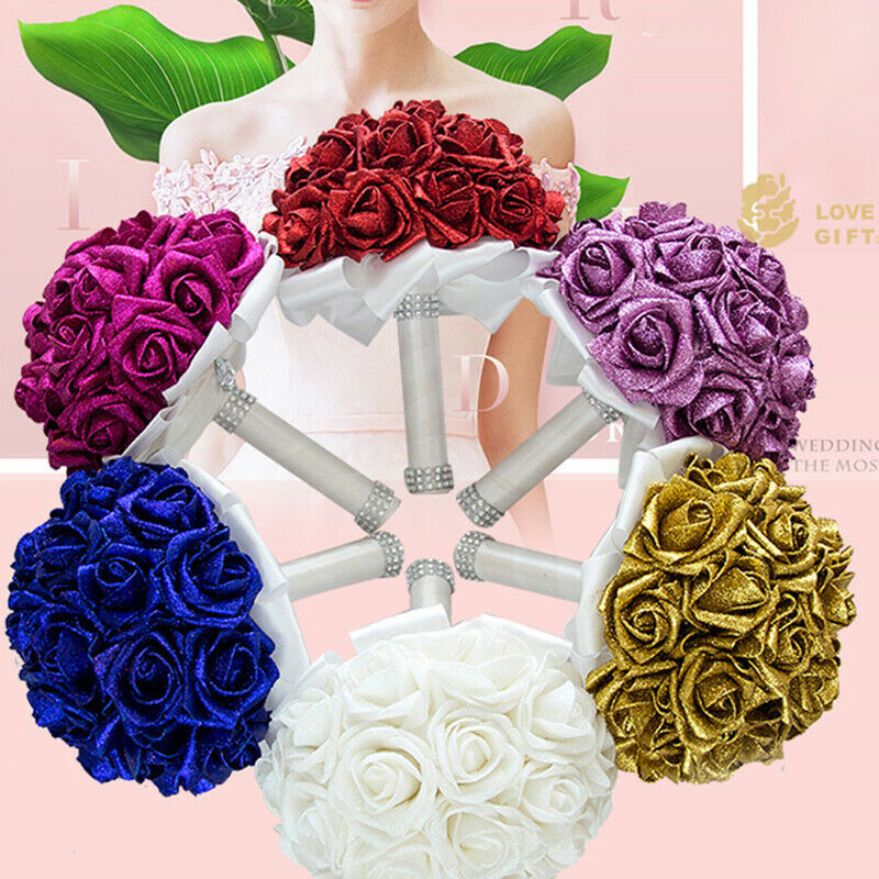 Artificial Flowers Meiwo 6pcs Round Roses Full Bloom Artificial Silk Real For Sale Ebay