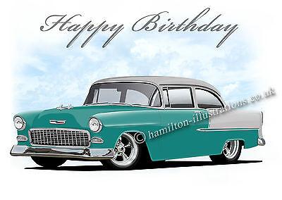 1955 55 Chevy Chevrolet Belair Son Dad Car Birthday Card Various Colours Ebay