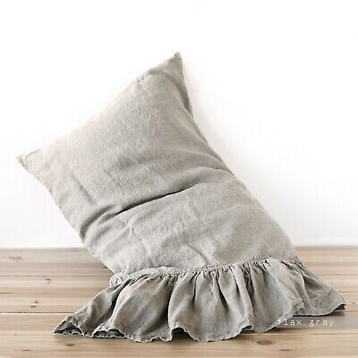 pillow case linen ruffle pillow sham queen king body pillow boudoir washed ebay