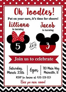 details about mickey and minnie mickey minnie twins siblings birthday party invitation