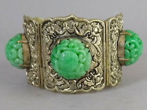 Antique Chinese Export Fine Carved Jade Buttons Silver Plate Bracelet
