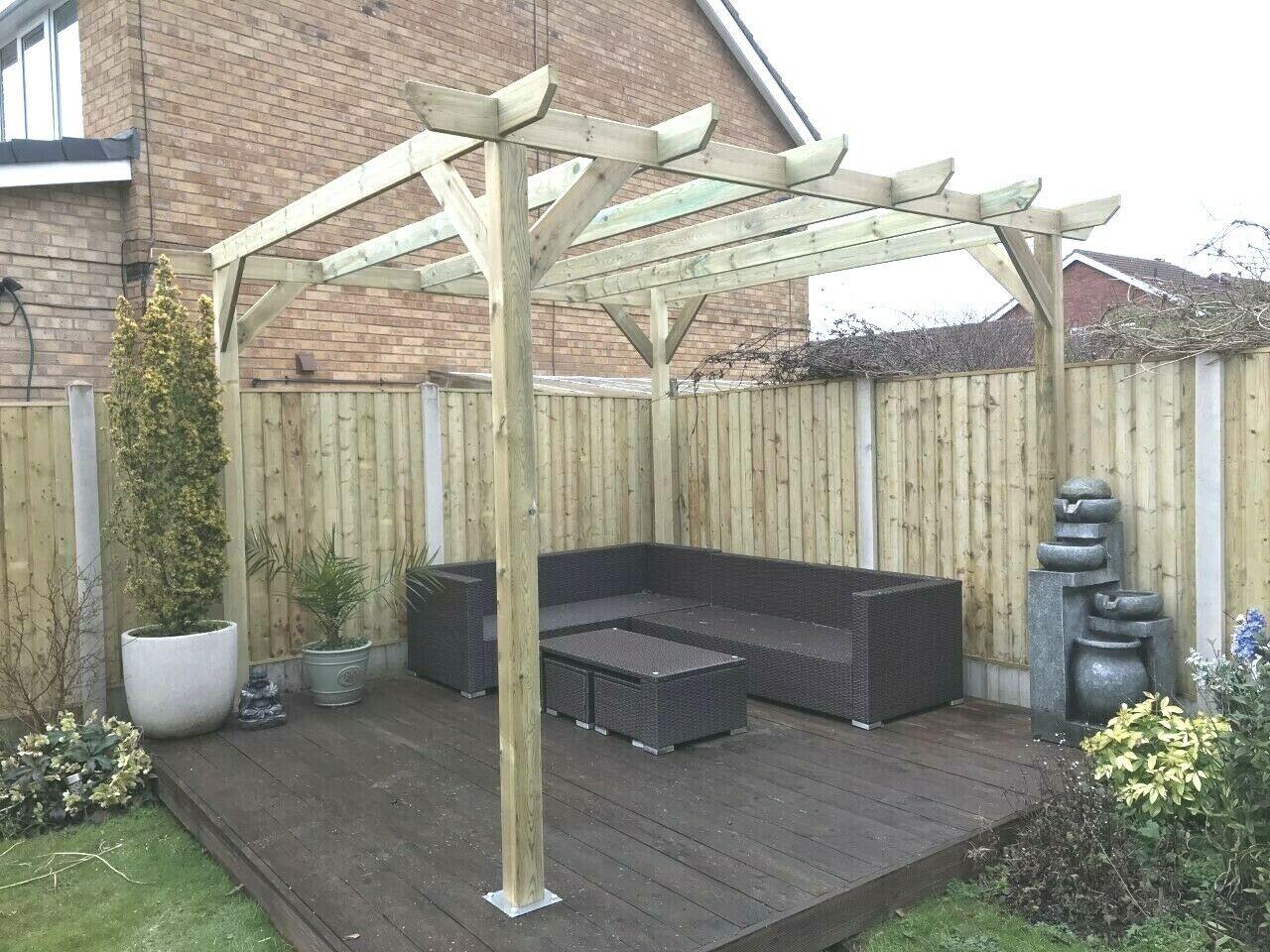 3m x 2 4m x 2 4m timber wooden garden gazebo pergola lean to lean to