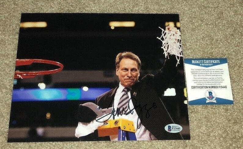 TOM IZZO SIGNED 8X10 PHOTO MICHIGAN STATE SPARTANS SPARTY CHAMPS 2000 COACH BAS
