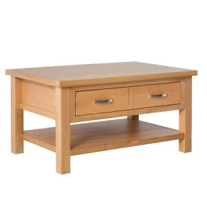 details about london oak coffee table large light solid wooden table with storage drawer shelf