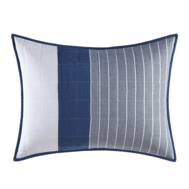 2 nautica swale navy blue white standard quilted pillow sham pair nautical