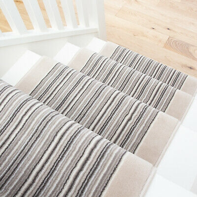 Long Ivory Grey Striped Stair Carpet Stairs Hallway Carpet Runners   Carpet For Stairs And Hallway   Living Room   Low Pile   Contemporary   Country Style   Quirky