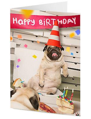 Happy Birthday Funny Pug Dogs At Pizza Party Birthday Card 5060427740250 Ebay