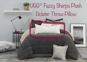 details about ugg fuzzy sherpa plush bolster throw pillow 16 x 36