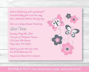 Details About Pink Gray Erfly Flowers Printable Baby Shower Invitation Editable Pdf