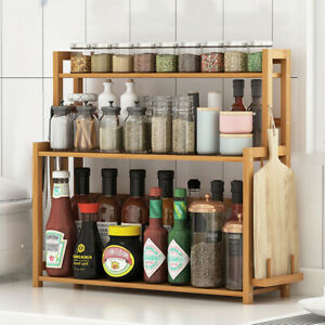 details about 3 tier kitchen organizer spice jar bottles rack with knife chopping board holder