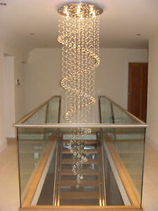 Image Is Loading Spiral Chandelier Lead Glass Crystal Large Long
